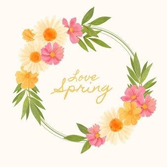 Handbemalter schöner frühlingsblumenrahmen