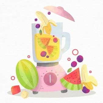Handbemalter smoothie im mixerglas