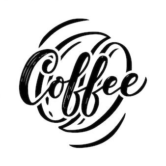 Handbeschriftungsname des kaffees mit skizze für coffeeshop oder café.