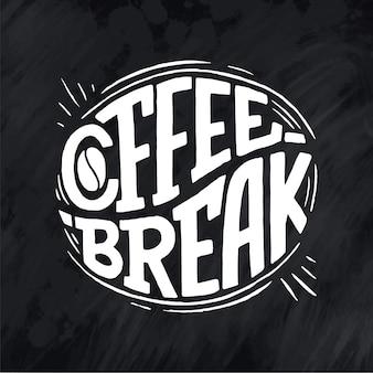 Handbeschriftungszitat mit skizze für coffeeshop oder café. hand gezeichnete vintage typografie phrase