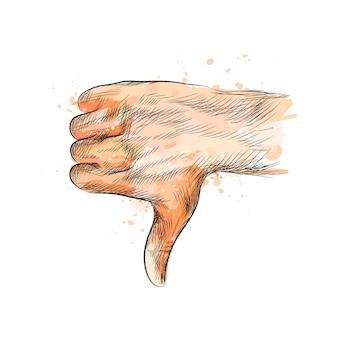 Handbewegung, daumen nach unten hand von einem spritzer aquarell, handgezeichnete skizze. illustration von farben