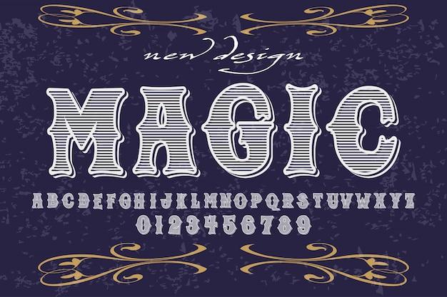 Handcrafted vektorentwurf des gussalphabetes benannte magie