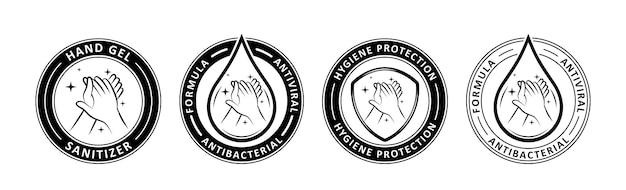 Handdesinfektionsmittel-etikett-illustration isoliert