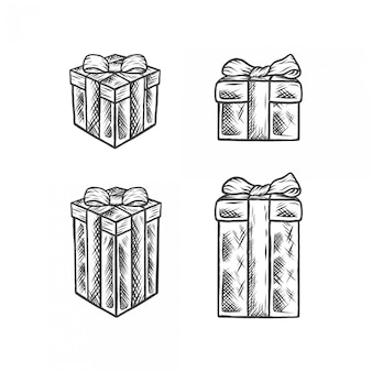 Handdrawing weinlese-illustrations-kasten-geschenk