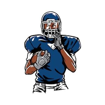 Handdrawn amerikanischer fußball logo maskottchen
