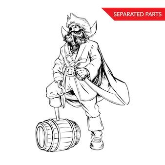 Handdrawn bart-piraten-vektor-illustration