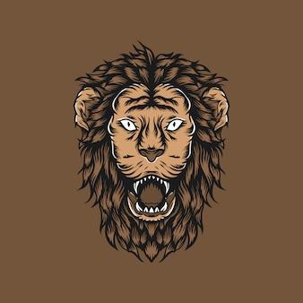 Handdrawn illustration lion head-weinlese