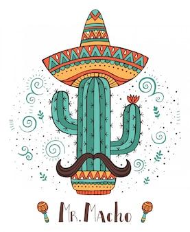 Handdrawn kaktus des mexiko-konzeptes mit dem schnurrbart