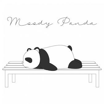 Handdrawn nette tiere-schwermütiger panda-cartoon