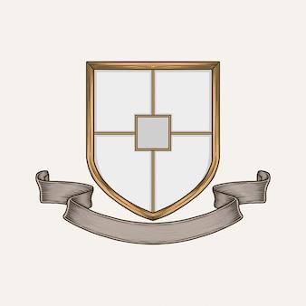 Handdrawn vintage crest-vorlage
