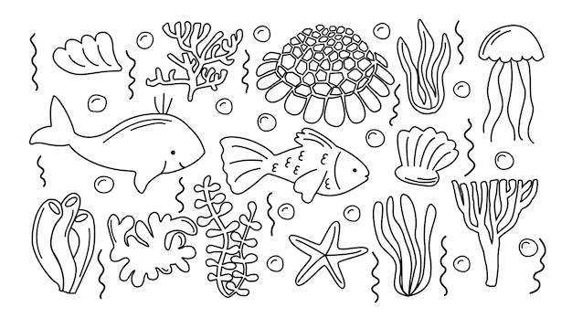 Handdrawnsea life doodle set sammlung von handgezeichneten illustrationen fischschalen verschiedene algen