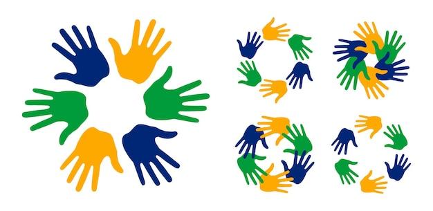 Handdruck-symbole mit brasilien-flaggenfarben eingestellt kreisrahmen menschen emblem brasilien-symbol vektor