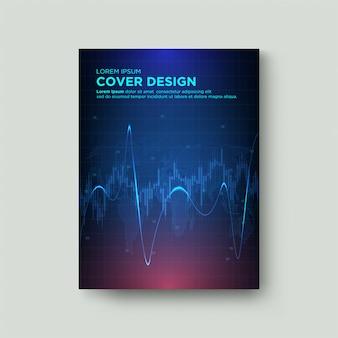 Handel mit digitalen deckblättern. mit einer grafischen illustration einer kerze und einer blauen gekrümmten linie auf einem dunklen hintergrund.