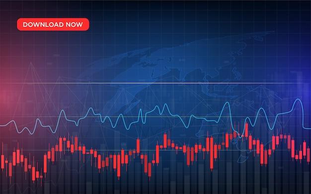 Handel mit einem roten candlestick-chart und einem gekrümmten graphen