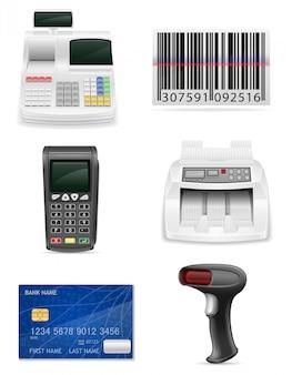 Handelsbankausrüstung für eine gesetzte vektorillustration der elemente des shops auf lager