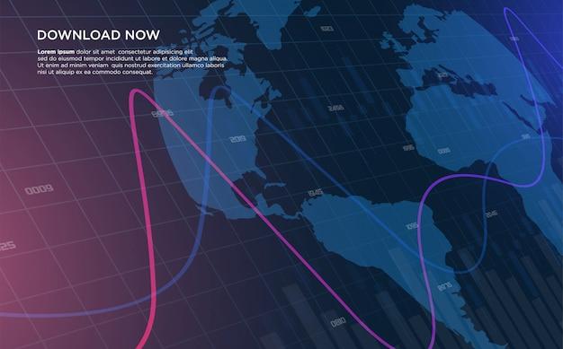 Handelshintergrund mit abbildungen von zwei gebogenen diagrammen