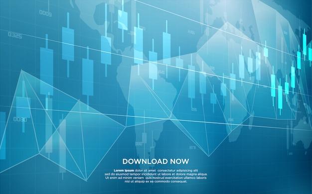 Handelshintergrund mit der illustration eines balkendiagramms, das aufwärts steigt