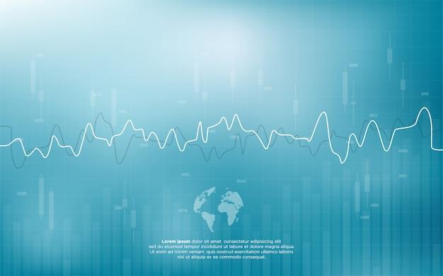 Handelshintergrund mit einer illustration einer börsenhandelskurve, die einem herzschlag ähnelt.