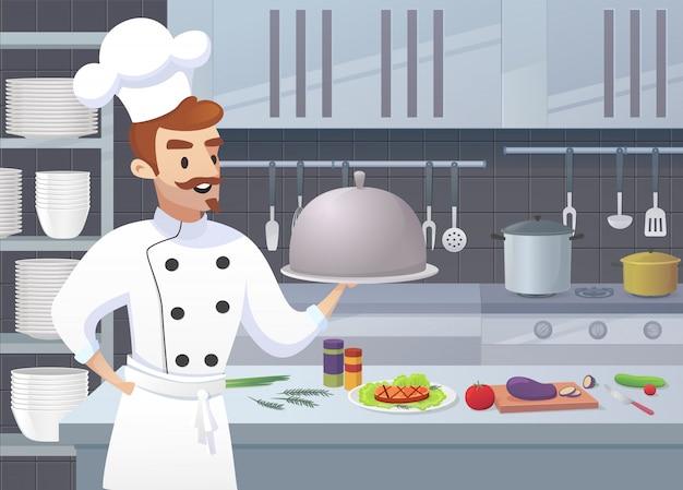 Handelsküche mit zeichentrickfilm-figuren-chef