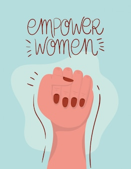 Handfaust der frauenermächtigung. feministische konzeptillustration der weiblichen macht