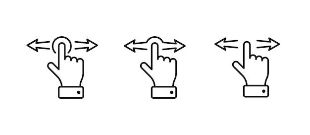 Handfinger links rechts horizontale wischgesten symbolsatz linie vektor-illustration eps