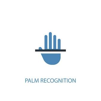 Handflächenerkennungskonzept 2 farbiges symbol. einfache blaue elementillustration. handflächenerkennungskonzept symboldesign. kann für web- und mobile ui/ux verwendet werden