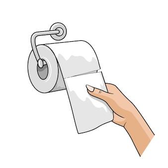 Handfrau ziehen mit einem weißen papier der seidenrolle hoch
