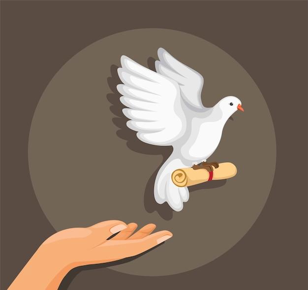 Handfreigabetaubenvogel mit rollenpapiernachricht in der flachen illustration der karikatur