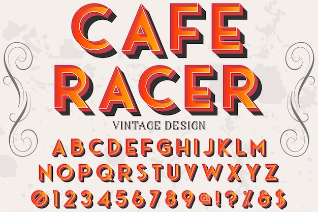 Handgefertigte 3d-schriftart namens cafe racer