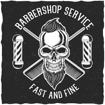 Handgefertigte poster- oder t-shirt-designs mit barbershop-ausrüstung und hipster-totenkopf mit bart und frisur.