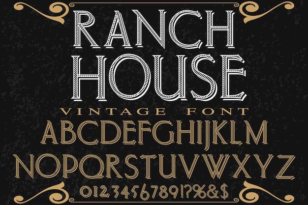 Handgefertigte typografie font design ranch haus
