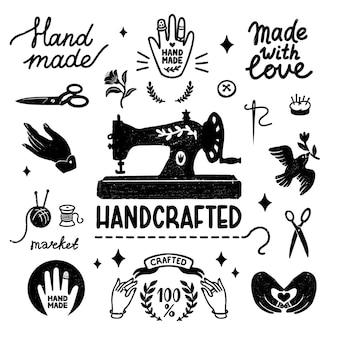 Handgefertigte und handgefertigte vintage-elemente im stempelstil, nähmaschine und handgemachte schriftzüge