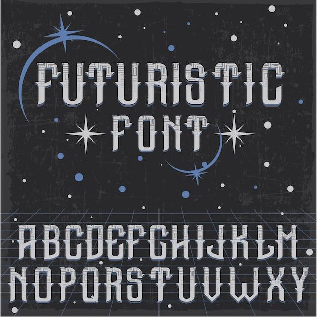 Handgefertigter futuristischer schrifttyp mit dekorationen