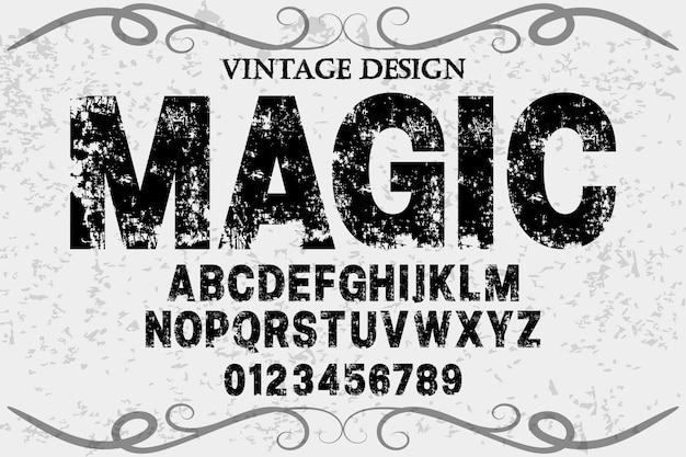 Handgefertigter vektor des weinlese-schriftartalphabetes benannte magie
