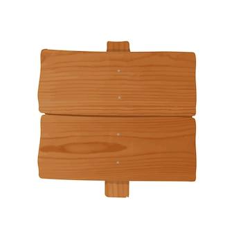Handgefertigtes holzschild und stange zusammengenagelt. leeres schild oder wegweiser isoliert
