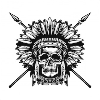 Handgefertigtes poster oder t-shirt mit einem totenkopf eines amerikanischen ureinwohners mit speeren und einem hut.
