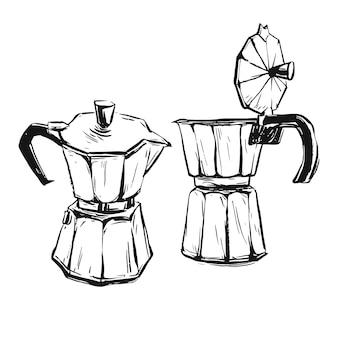 Handgemachte abstrakte grafische illustration mit geysir-kaffeemaschine lokalisiert auf weiß.