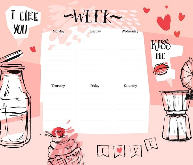 Handgemachte abstrakte strukturierte romantische wochenplanerschablone mit illustration in den pastellfarben. veranstalter und zeitplan. süß und trendy. für planung, journaling, business, tagebuch.
