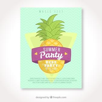 Handgemachte ananas-sommer-party-broschüre