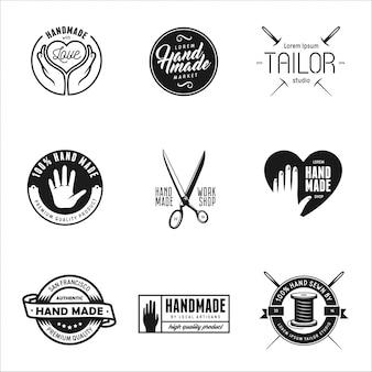 Handgemachte etiketten, abzeichen und elemente im vintage-stil.
