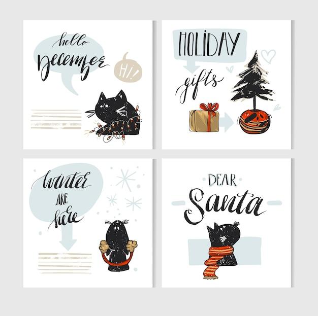 Handgemachte frohe weihnachten grußkarte mit niedlichen weihnachtsfiguren der schwarzen katzen in winterkleidung und modernen weihnachtskalligraphiephasen isoliert