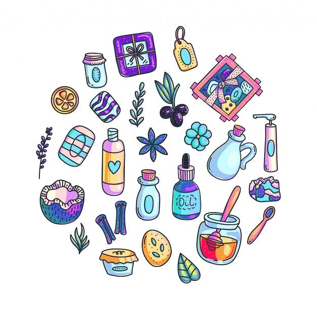 Handgemachte gezeichnete illustrationen der kosmetik hand farbsatz