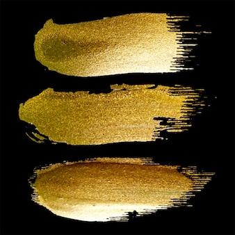 Handgemachte goldene pinselstrichset-sammlung