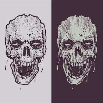 Handgemachte illustrationsskizze des unheimlichen schädels