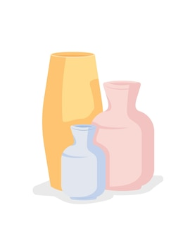 Handgemachte keramikvasen halb flaches farbvektorobjekt. keramikkurse. professionell aussehende artikel. keramikwerkstatt isoliert moderne cartoon-stil illustration für grafikdesign und animation