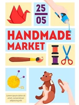 Handgemachte marktplakatschablone mit datumszeitpapier, das spielzeug zusammensetzt, das stricken malt