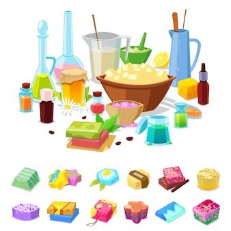 Handgemachte seife hausgemachte hygiene aromakosmetik für gesunde aromatherapie und hand reinigen bad toilettenartikel illustration hobby satz von werkstatt duftenden zutaten auf weißem hintergrund