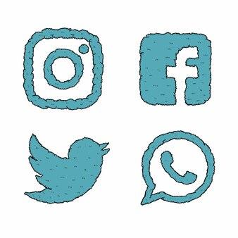 Handgemachte social media logo büsche