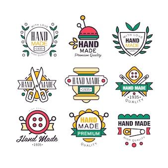 Handgemachte, strickende und maßgeschneiderte etikettenvektorillustrationen
