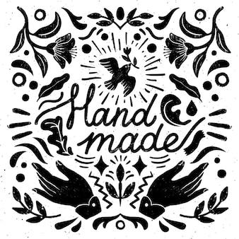Handgemachte symmetrische komposition - vintage-elemente im stempelstil und nähmaschine mit handgemachter beschriftung